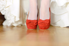 Red Shoes with Bow Royalty Free Stock Photography