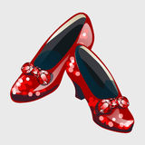 Red shoes with bow made from rubies Stock Photo