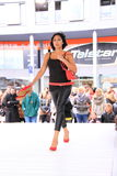 Red shoes catwalk royalty free stock photo