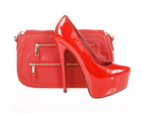 Red shoes and clutch bag Stock Images