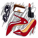 Red shoes and cosmetics sketch set Royalty Free Stock Photography