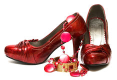 Red shoes and decorations Royalty Free Stock Photography
