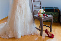 Red shoes and dress Royalty Free Stock Photos