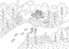 The Red Shoes Fairy Tale Colorless vector illustration