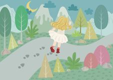 The Red Shoes Fairy Tale vector illustration