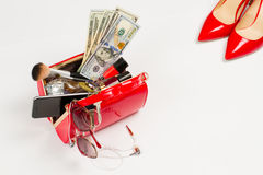 Red shoes and female bag. Royalty Free Stock Photo
