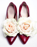 Red shoes and flowers Royalty Free Stock Photo
