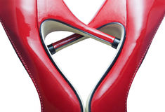 Red shoes forming a heart. Detail of red shoes forming a heart Stock Photography