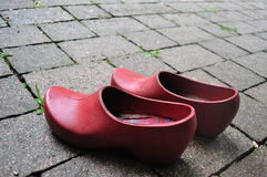 Red shoes. Red gardening shoes.Photo taken on: August,2013 Royalty Free Stock Photo