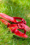 Red shoes in grass. Red slippers laying in the grass Stock Image