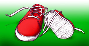 Red shoes on green background. Illustration of a pair of red shoes lying on a green background Royalty Free Stock Photos