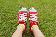 Red shoes. Its pretty red shoes on green glass.Many little girl want to own it Stock Images