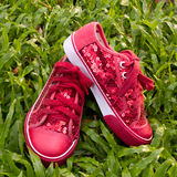 Red shoes on green grass Royalty Free Stock Photo