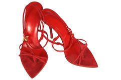 Red shoes on a high heel. On a white background Stock Image