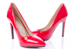Red shoes with high heels Royalty Free Stock Photography