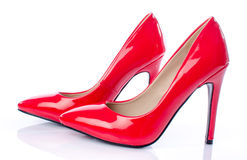 Red shoes with high heels Royalty Free Stock Images