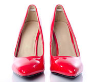 Red shoes with high heels Royalty Free Stock Image