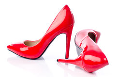 Red shoes with high heels Stock Photo