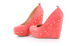 Red shoes. Isolated on white background Stock Photos