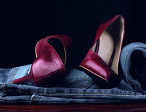 Red shoes and jeans Royalty Free Stock Images