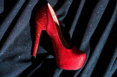 Red shoes for lady. shopping. Shoes shop. fetish and love. woman in shoe store. shoe fashion. Desire. Following her royalty free stock photos