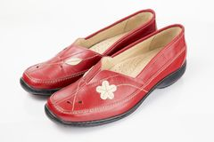 Red shoes leather Stock Images