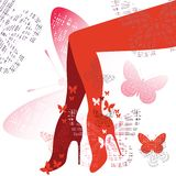 Red Shoes and legs. Shapely legs in red tones with graphic butterflies - feminine fashion Stock Photos