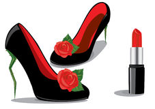 Red shoes and lipstick Royalty Free Stock Photography