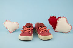 Red shoes for little girl Stock Photos
