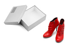 Red shoes and open box Stock Image