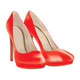 Red shoes, patent leather, vector illustration Stock Photography