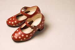 Red shoes with polka dots. Nice girl shoes to dance flamenco Stock Photo