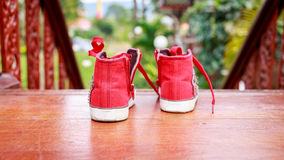 Red shoes ready to go out Stock Photos