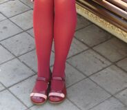red-shoes-and-red-stockings-girl Royalty Free Stock Photography