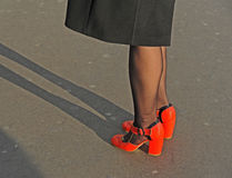 Red shoes and shadows. Stock Image
