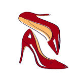 Red shoes sketch illustration Royalty Free Stock Photography