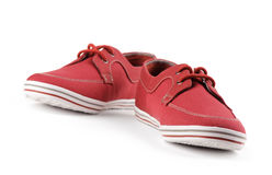 Red shoes. Sneakers Royalty Free Stock Images