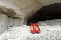 Red Shoes on Stone Stock Photos