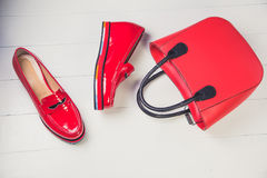 Red shoes, stylish patent leather shoes Royalty Free Stock Photography