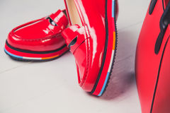 Red shoes, stylish patent leather shoes Royalty Free Stock Photo