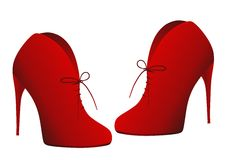 Red shoes. Vector illustration of red  bootees isolated Royalty Free Stock Photos