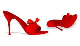 Red shoes. Vector illustration of red lady shoes with ribbon Stock Photos