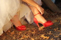 Red shoes for wedding Royalty Free Stock Photo