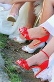 Red shoes for wedding Stock Photos
