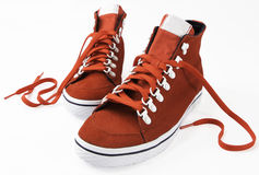 Red shoes on white background Royalty Free Stock Images
