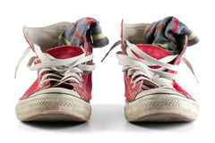 Red shoes with white laces & socks. Stock Photo