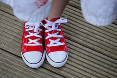 Red shoes. On a wooden background Stock Images
