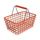 Red shop basket. Perspective view illustration Stock Photos