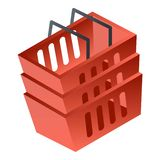 Red shop basket icon, isometric style vector illustration
