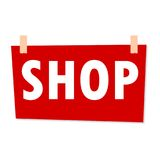 Red Shop Sign - illustration on white background Stock Photography